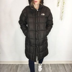 THE NORTH FACE long puffy coat quilted brown